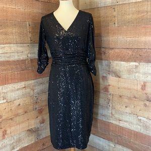 NUE BY SHANI Black Sequins Sparkle Bodycon Dress